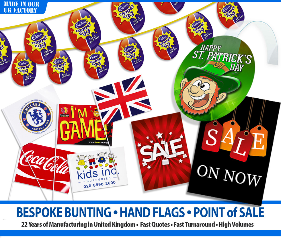 Bunting, Handwavers and Point of Sale images showing the Kreative Bunting range of bespoke products