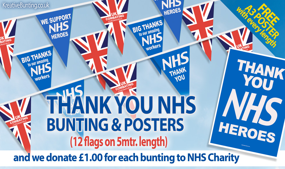 NHS Bunting, Stay Safe Bunting, NHS thank you bunting