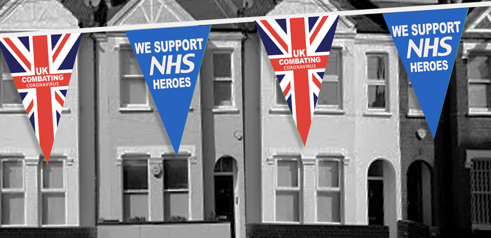 NHS Thank you bunting on house