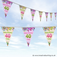 40th Birthday Bunting - Design 01