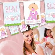 Baby Girl - Baby shower Bunting - Baby and Clothes Line Design 10