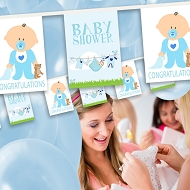 Baby Boy - Baby Shower Bunting  - Baby & Clothes Line Design 7