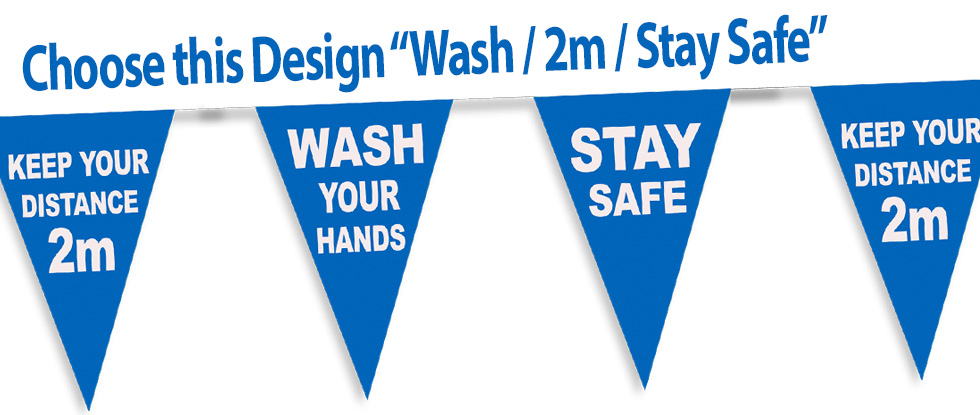 Wash Hands- keep Distance- stay safe bunting