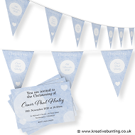 Personalised Christening Bunting & Invite Bundle Blue Design 1