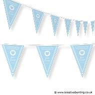 Personalised Christening Bunting Blue Design 2