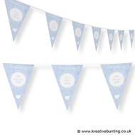 Personalised Christening Bunting Blue Design 1