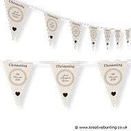 Personalised Christening Bunting Cream Design 1