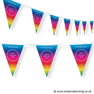 Personalised Christening Bunting Rainbow Design 1