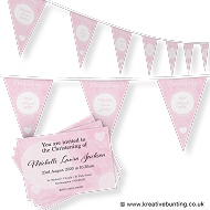 Personalised Christening Bunting & Invite Bundle Pink Design 1