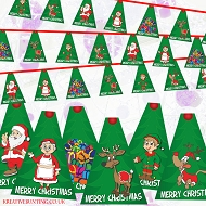 Christmas Bunting  - Santa's Family, Reindeer, Elf, Dog