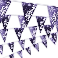 Christmas Bunting - Snowflake design in purple