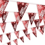 Christmas Bunting - Snowflake design in Red
