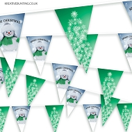 Christmas Bunting - Snowflake Christmas Tree and Snowman 3