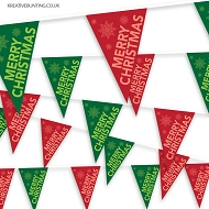 Christmas Bunting -  Red and Green Festive Bunting