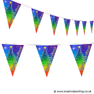 Christmas Bunting - Rainbow Christmas Tree Design