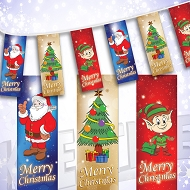 Christmas Bunting - Christmas Tree, Santa and Elf Design