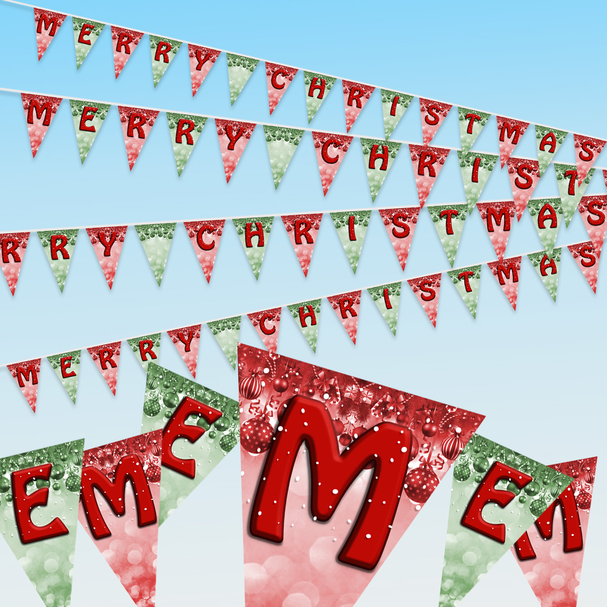 Christmas Letters.Christmas Bunting Christmas Tree Santa And Elf