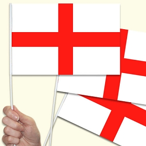 St. George Cross Handwaving Flags - 10 Pack