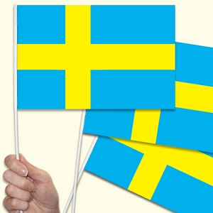 Sweden Handwaving Flags - 10 Pack