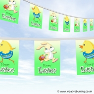 Easter bunting - Easter bunny and chick cartoon design