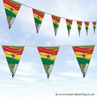 Ghana Football Bunting - Wavy Flag Design