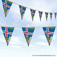 Iceland Football Bunting - Wavy Flag Design
