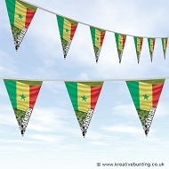 Senegal Football Bunting - Wavy Flag Design