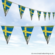 Sweden Football Bunting - Wavy Flag Design