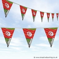 Tunisia Football Bunting - Wavy Flag Design