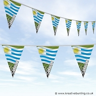 Uruguay Football Bunting - Wavy Flag Design