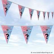 Gender Reveal Party Bunting - Colour Halves Design