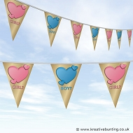 Gender Reveal Party Bunting - Hearts of Gold Design