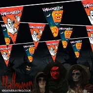 Halloween bunting Goulish Ghosts and Cartoon Pumpkin