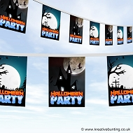 Halloween bunting - spooky moon party bunting