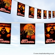 Halloween bunting spooky house and ghost bunting