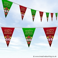 Narrowboat Birthday Bunting - Red and Green Roses Design
