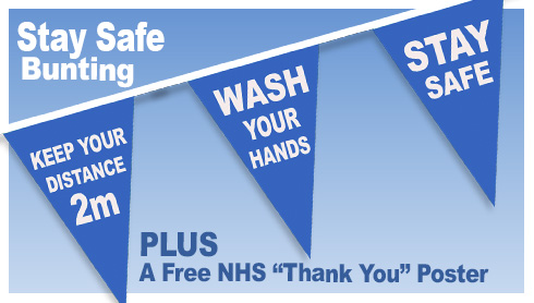 Wash Hands, Keep your distance, Stay safe Bunting