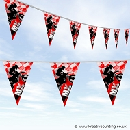 Dirtbike Off Road Motorcycle Bunting - MX Bold Red