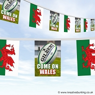 Come On Wales Rugby Bunting