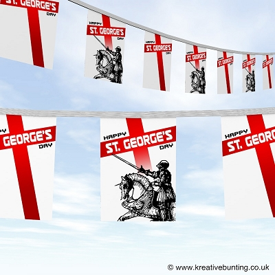 St. George's Day bunting - Knight on his Steed Design