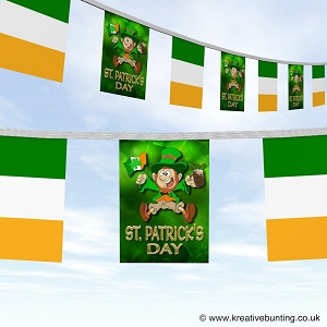 St Patrick's day bunting - Merry leprechaun and a flag design
