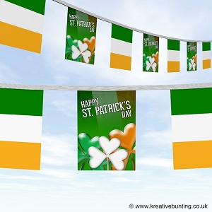 St Patrick's day bunting - colourful clover and the flag design