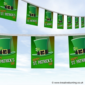 St Patrick's Day bunting -top hat and shamrock design