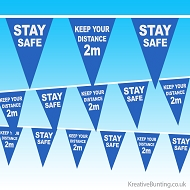 Stay Safe - 2 metres distance Bunting  - NHS Coronavirus covid-19