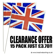 Polythene Union Jack Handwaving Flags - 15 Pack