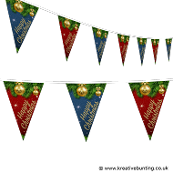 Christmas Bunting - Pine & Baubles Design