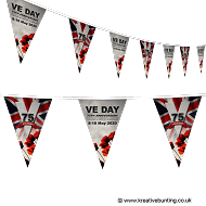 VE Day 75th Anniversary Poppy Design Bunting