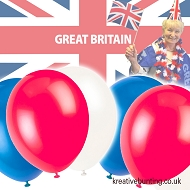 Union Jack - Red, White, Blue Balloons (10 x 3 cols. = 30 balloons per pack)