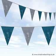 Wedding Day Bunting - Blue and Grey Plain