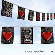 Wedding Day Bunting - Heart and Words Design